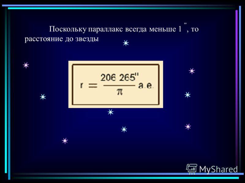 Поскольку параллакс всегда меньше 1,,, то расстояние до звезды