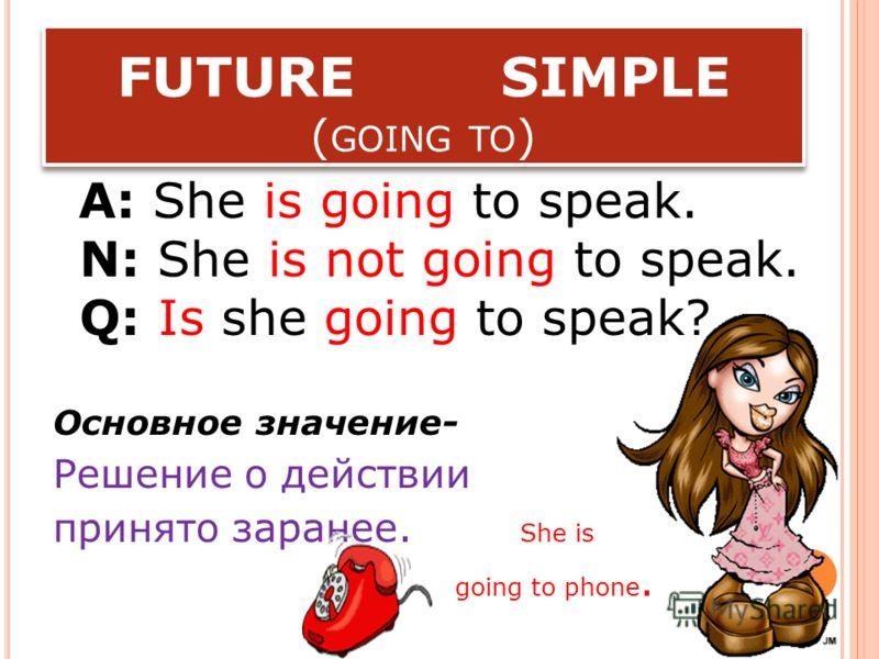 FUTURE SIMPLE A: He will speak. N: He will not speak. Q: Will he speak? Piglet will shoot. Пятачок будет. стрелять.