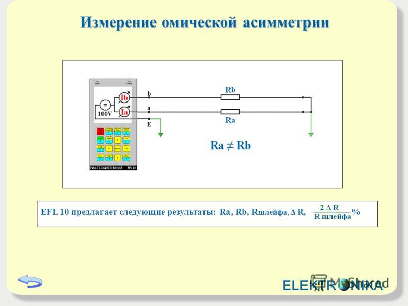 Измерение омической асимметрии EFL 10 предлагает следующие результаты: Ra, Rb, R шлейфa, Δ R, % ELEKTR NIKA