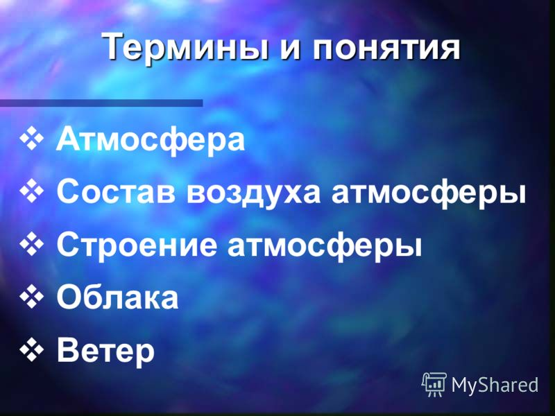 Атмосфера Состав воздуха атмосферы Строение атмосферы Облака Ветер Термины и понятия