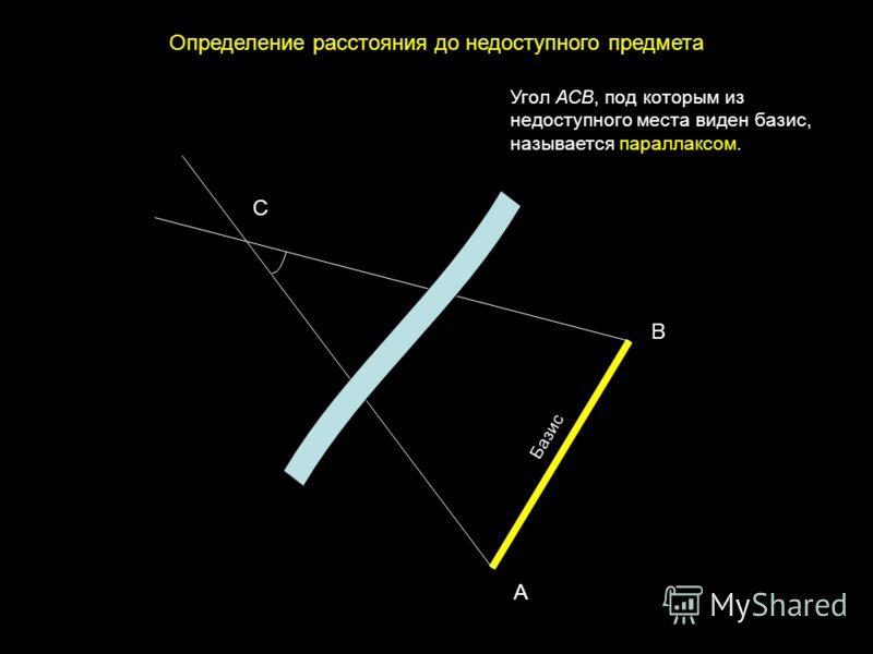Определение расстояния до недоступного предмета С А В Базис Угол АСВ, под которым из недоступного места виден базис, называется параллаксом.