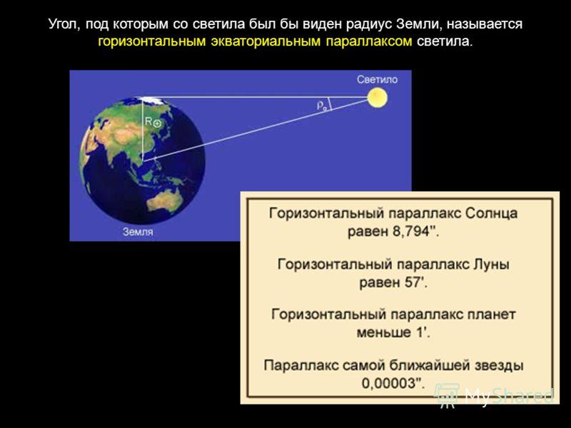 Угол, под которым со светила был бы виден радиус Земли, называется горизонтальным экваториальным параллаксом светила. о