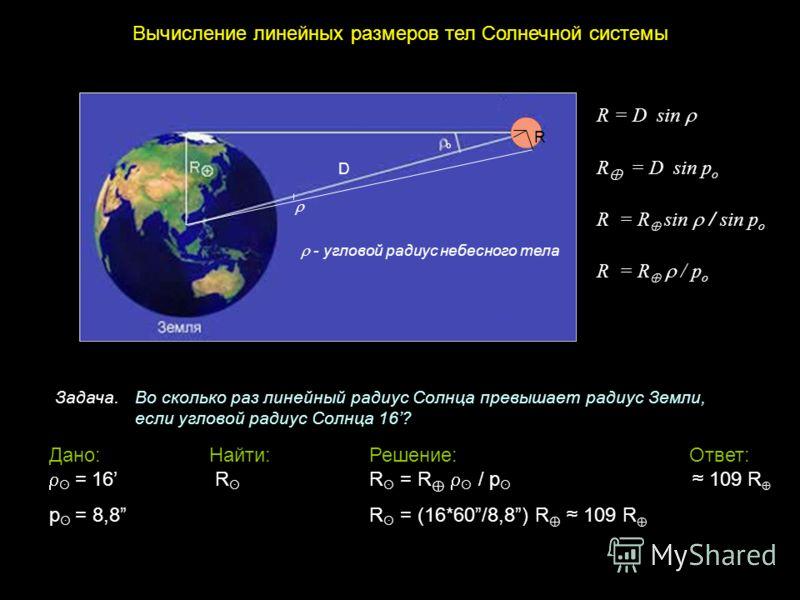 Вычисление линейных размеров тел Солнечной системы R = D sin R = D sin p o R = R sin / sin p o R = R / p o R о о R D - угловой радиус небесного тела Задача. Во сколько раз линейный радиус Солнца превышает радиус Земли, если угловой радиус Солнца 16?