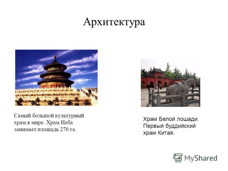 Архитектура Самый большой культурный храм в мире. Храм Неба занимает площадь 270 га. Храм Белой лошади. Первый буддийский храм Китая.