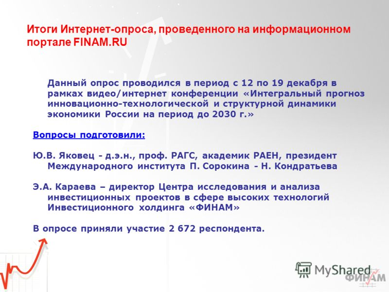 Итоги Интернет-опроса, проведенного на информационном портале FINAM.RU Данный опрос проводился в период с 12 по 19 декабря в рамках видео/интернет конференции «Интегральный прогноз инновационно-технологической и структурной динамики экономики России