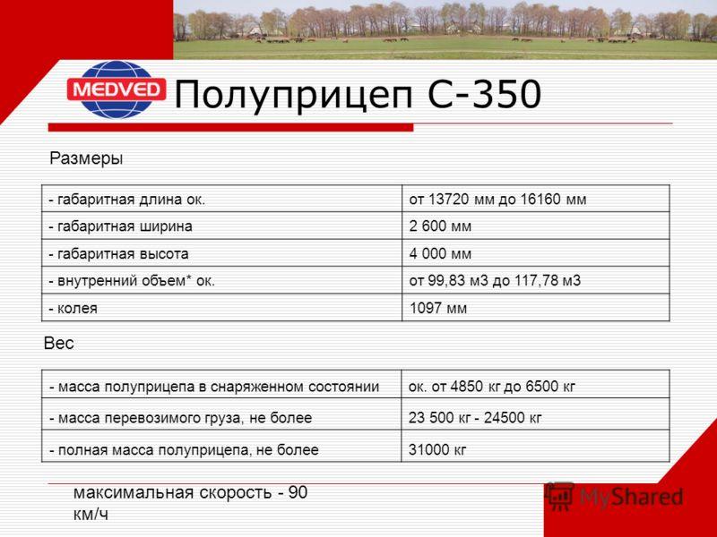 Полуприцеп С-350 - габаритная длина ок.от 13720 мм до 16160 мм - габаритная ширина2 600 мм - габаритная высота4 000 мм - внутренний объем* ок.от 99,83 м3 до 117,78 м3 - колея1097 мм Размеры - масса полуприцепа в снаряженном состоянииок. от 4850 кг до
