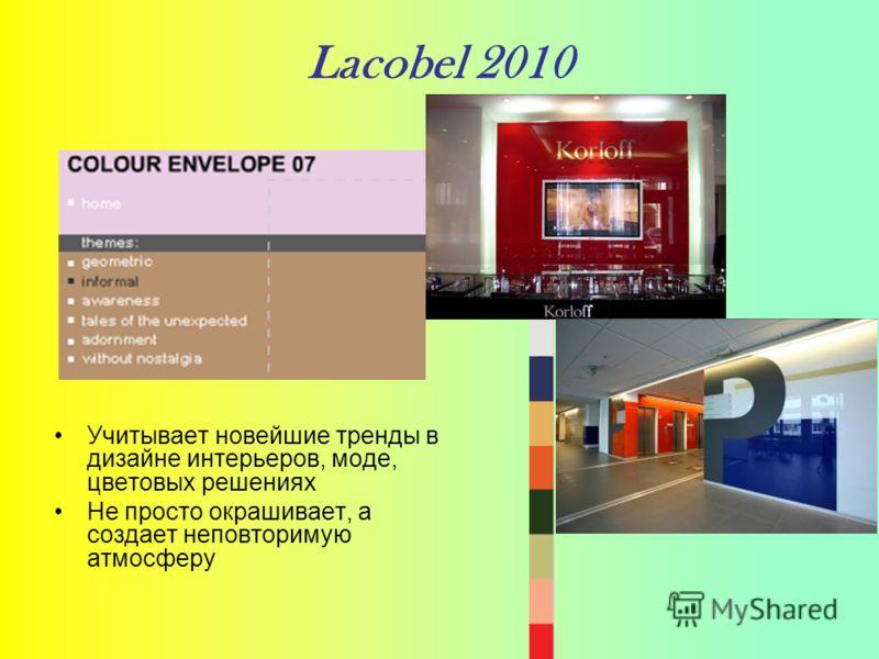 Lacobel 2010 Учитывает новейшие тренды в дизайне интерьеров, моде, цветовых решениях Не просто окрашивает, а создает неповторимую атмосферу
