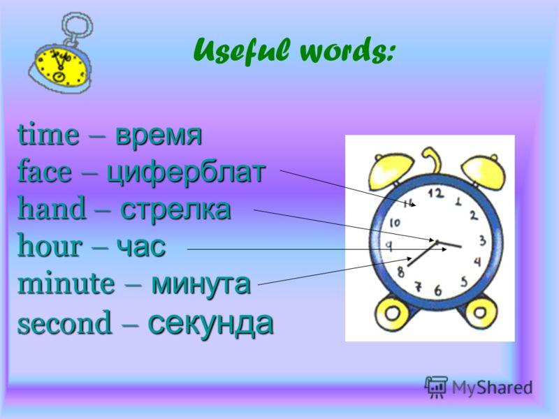time – время face – циферблат hand – стрелка hour – час minute – минута second – секунда time – время face – циферблат hand – стрелка hour – час minute – минута second – секунда Useful words:
