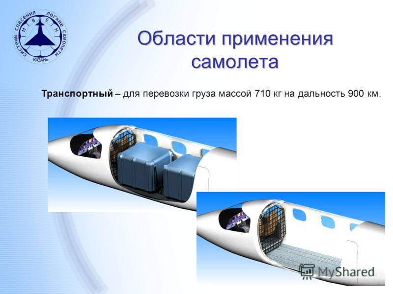 Области применения самолета Транспортный – для перевозки груза массой 710 кг на дальность 900 км.