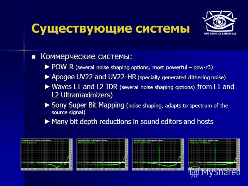 Существующие системы Коммерческие системы: Коммерческие системы: POW-R (several noise shaping options, most powerful – pow-r3) POW-R (several noise shaping options, most powerful – pow-r3) Apogee UV22 and UV22-HR (specially generated dithering noise)