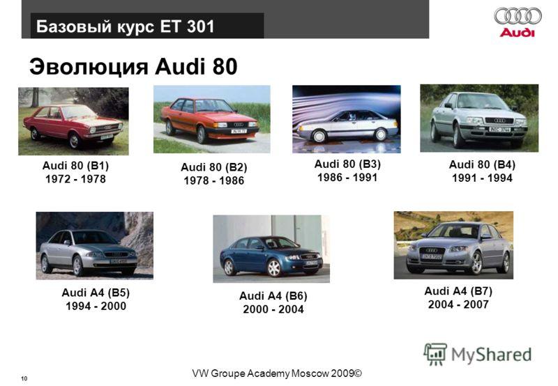 10 Базовый курс BT015 VW Groupe Academy Moscow 2009© Эволюция Audi 80 Базовый курс ЕТ 301 Audi 80 (B1) 1972 - 1978 Audi 80 (B2) 1978 - 1986 Audi 80 (B3) 1986 - 1991 Audi 80 (B4) 1991 - 1994 Audi A4 (B5) 1994 - 2000 Audi A4 (B6) 2000 - 2004 Audi A4 (B