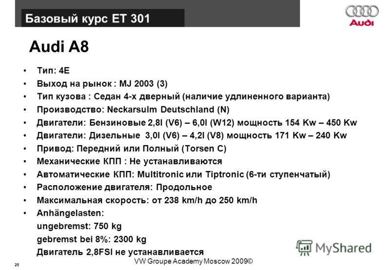 28 Базовый курс BT015 VW Groupe Academy Moscow 2009© Audi A8 Тип: 4E Выход на рынок : MJ 2003 (3) Тип кузова : Седан 4-х дверный (наличие удлиненного варианта) Производство: Neckarsulm Deutschland (N) Двигатели: Бензиновые 2,8l (V6) – 6,0l (W12) мощн
