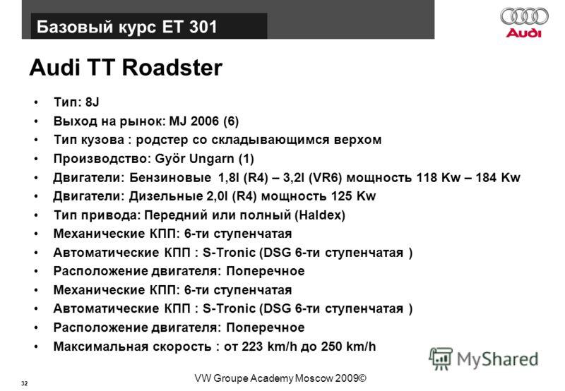 32 Базовый курс BT015 VW Groupe Academy Moscow 2009© Audi TT Roadster Тип: 8J Выход на рынок: MJ 2006 (6) Тип кузова : родстер со складывающимся верхом Производство: Györ Ungarn (1) Двигатели: Бензиновые 1,8l (R4) – 3,2l (VR6) мощность 118 Kw – 184 K