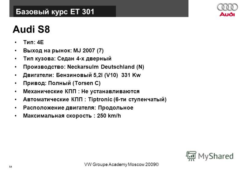 54 Базовый курс BT015 VW Groupe Academy Moscow 2009© Audi S8 Тип: 4E Выход на рынок: MJ 2007 (7) Тип кузова: Седан 4-х дверный Производство: Neckarsulm Deutschland (N) Двигатели: Бензиновый 5,2l (V10) 331 Kw Привод: Полный (Torsen C) Механические КПП
