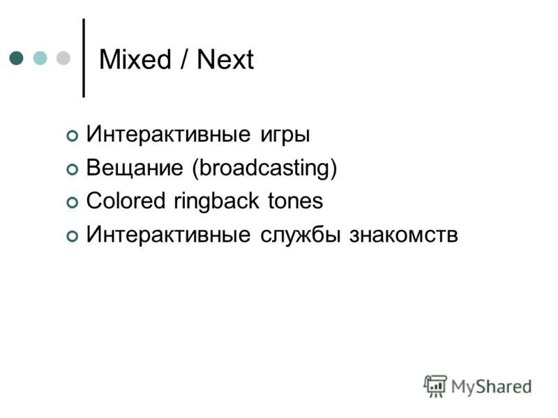 Mixed / Next Интерактивные игры Вещание (broadcasting) Colored ringback tones Интерактивные службы знакомств