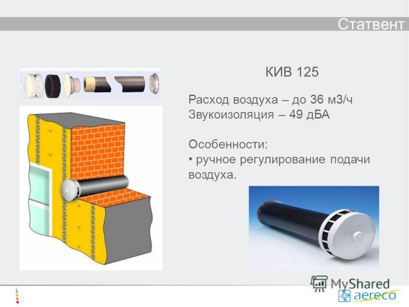 Статвент КИВ 125 Расход воздуха – до 36 м3/ч Звукоизоляция – 49 дБА Особенности: ручное регулирование подачи воздуха.