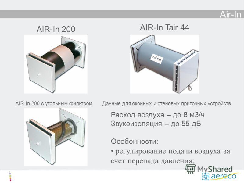 Air-In Расход воздуха – до 8 м3/ч Звукоизоляция – до 55 дБ Особенности: регулирование подачи воздуха за счет перепада давления; AIR-In 200 AIR-In Tair 44 AIR-In 200 с угольным фильтромДанные для оконных и стеновых приточных устройств