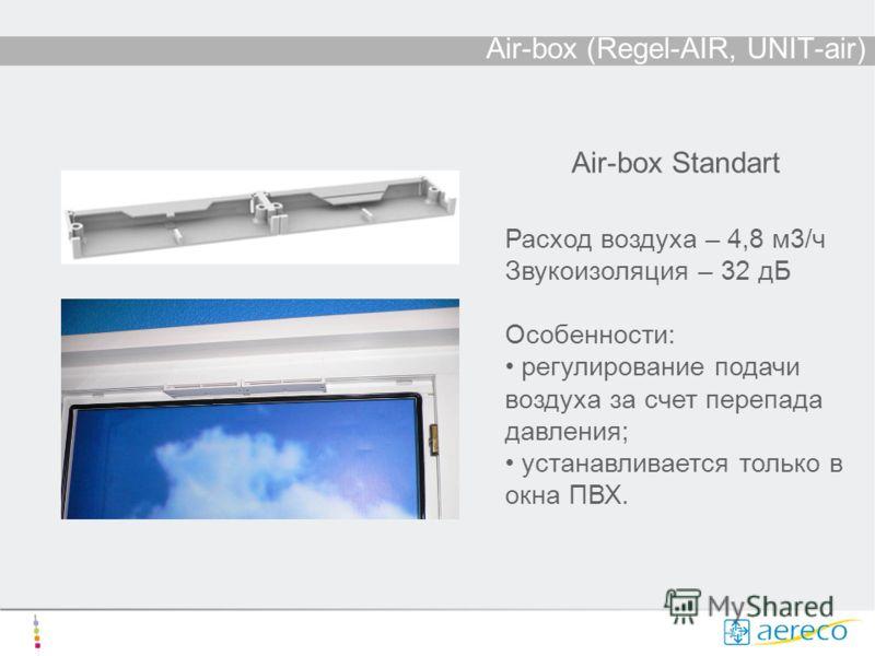 Air-box (Regel-AIR, UNIT-air) Air-box Standart Расход воздуха – 4,8 м3/ч Звукоизоляция – 32 дБ Особенности: регулирование подачи воздуха за счет перепада давления; устанавливается только в окна ПВХ.