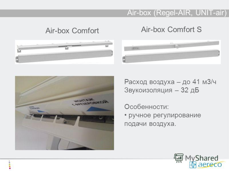 Air-box (Regel-AIR, UNIT-air) Air-box Comfort Air-box Comfort S Расход воздуха – до 41 м3/ч Звукоизоляция – 32 дБ Особенности: ручное регулирование подачи воздуха.