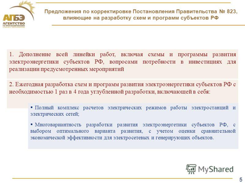 5 Образец заголовка Предложения по корректировке Постановления Правительства 823, влияющие на разработку схем и программ субъектов РФ 1. Дополнение всей линейки работ, включая схемы и программы развития электроэнергетики субъектов РФ, вопросами потре