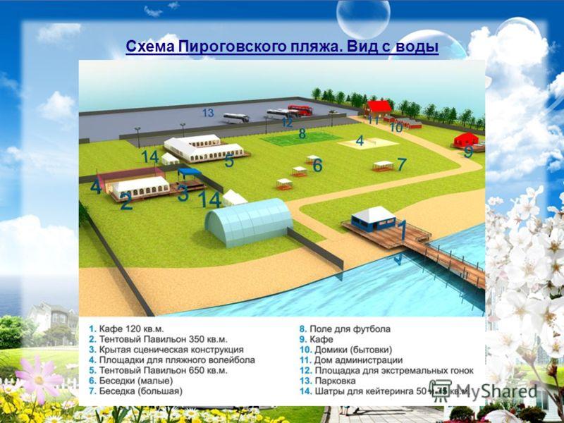 Схема Пироговского пляжа. Вид с воды