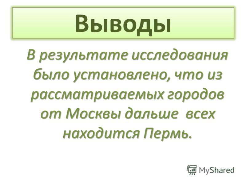 Выводы В результате исследования было установлено, что из рассматриваемых городов от Москвы дальше всех находится Пермь.