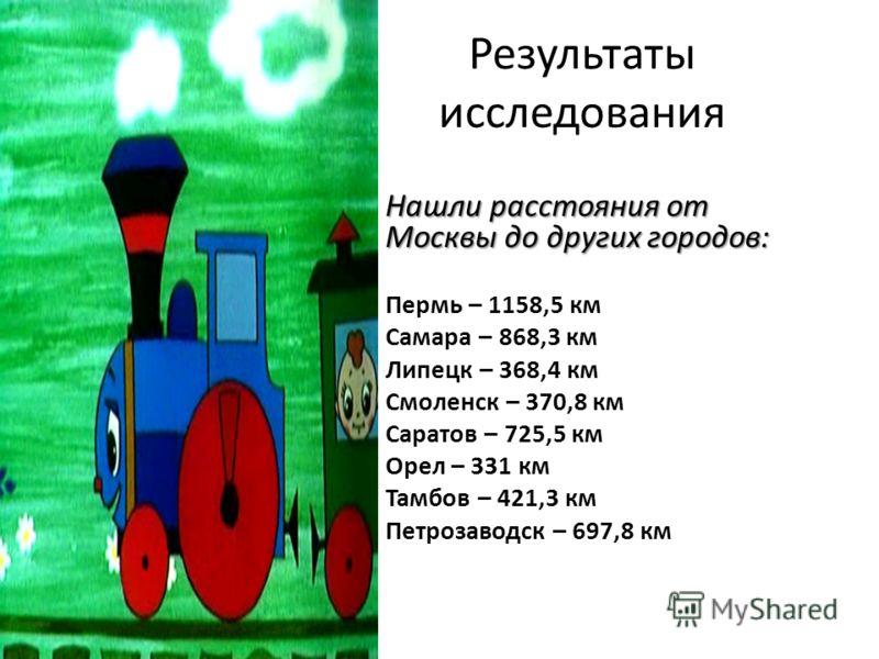 Результаты исследования Нашли расстояния от Москвы до других городов: Нашли расстояния от Москвы до других городов: Пермь – 1158,5 км Самара – 868,3 км Липецк – 368,4 км Смоленск – 370,8 км Саратов – 725,5 км Орел – 331 км Тамбов – 421,3 км Петрозаво