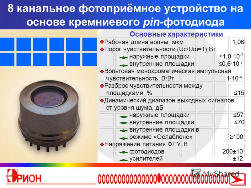 8 канальное фотоприёмное устройство на основе кремниевого pin-фотодиода Основные характеристики Рабочая длина волны, мкм 1,06 Порог чувствительности (Uс/Uш=1),Вт наружные площадки 1,010 -7 внутренние площадки 0,610 -7 Вольтовая монохроматическая импу