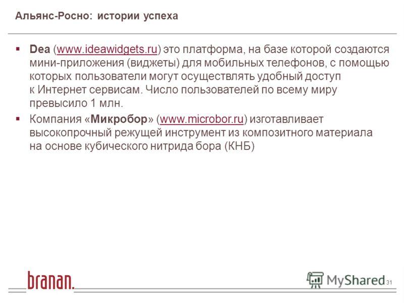 31 31 / 182 Финансирование инновационного бизнеса Андрей Андрусов 31 Dea (www.ideawidgets.ru) это платформа, на базе которой создаются мини-приложения (виджеты) для мобильных телефонов, с помощью которых пользователи могут осуществлять удобный доступ