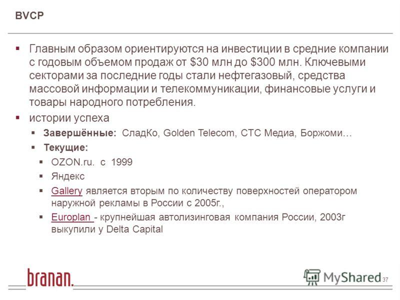 37 37 / 182 Финансирование инновационного бизнеса Андрей Андрусов 37 Главным образом ориентируются на инвестиции в средние компании с годовым объемом продаж от $30 млн до $300 млн. Ключевыми секторами за последние годы стали нефтегазовый, средства ма