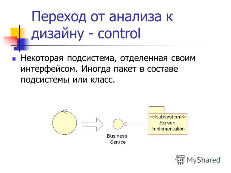 Переход от анализа к дизайну - control Некоторая подсистема, отделенная своим интерфейсом. Иногда пакет в составе подсистемы или класс.