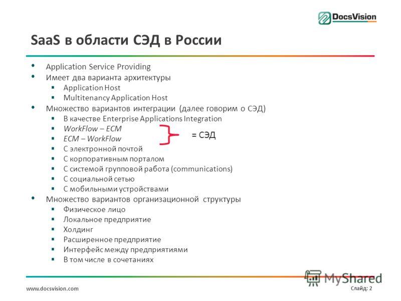 www.docsvision.com Слайд: 2 SaaS в области СЭД в России Application Service Providing Имеет два варианта архитектуры Application Host Multitenancy Application Host Множество вариантов интеграции (далее говорим о СЭД) В качестве Enterprise Application