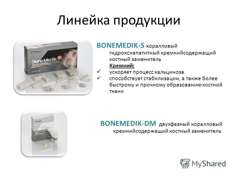 Линейка продукции BONEMEDIK-DM двухфазный коралловый кремнийсодержащий костный заменитель BONEMEDIK-S коралловый гидроксиапатитный кремнийсодержащий костный заменитель Кремний: ускоряет процесс кальциноза способствует стабилизации, а также более быст