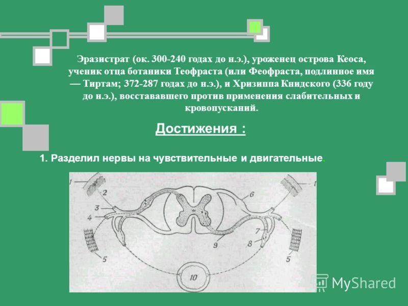 Эразистрат (ок. 300-240 годах до н.э.), уроженец острова Кеоса, ученик отца ботаники Теофраста (или Феофраста, подлинное имя Тиртам; 372-287 годах до н.э.), и Хризиппа Книдского (336 году до н.э.), восстававшего против применения слабительных и крово