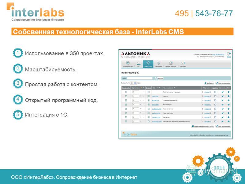 Использование в 350 проектах. Масштабируемость. Простая работа с контентом. 2011 Собсвенная технологическая база - InterLabs CMS 1 2 3 495 | 543-76-77 ООО «ИнтерЛабс». Сопровождение бизнеса в Интернет Открытый программный код. 4 Интеграция с 1С. 5