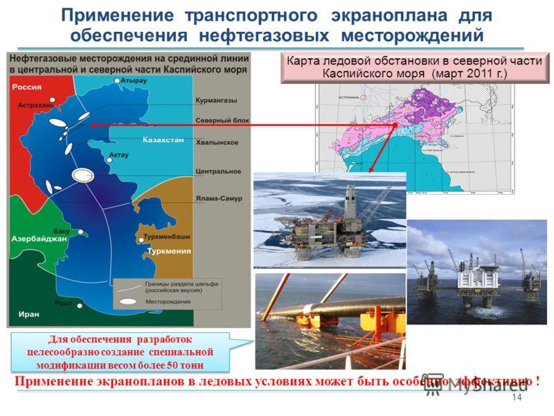 14 Карта ледовой обстановки в северной части Каспийского моря (март 2011 г.) Применение транспортного экраноплана для обеспечения нефтегазовых месторождений Применение экранопланов в ледовых условиях может быть особенно эффективно ! Для обеспечения р
