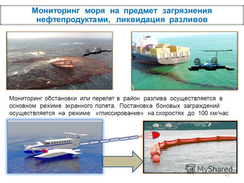 Мониторинг моря на предмет загрязнения нефтепродуктами, ликвидация разливов Мониторинг обстановки или перелет в район разлива осуществляется в основном режиме экранного полета. Постановка боновых заграждений осуществляется на режиме «глиссирование» н