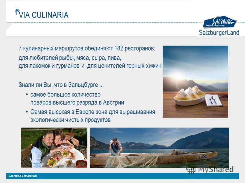 VIA CULINARIA 7 кулинарных маршрутов обединяют 182 ресторанов: для любителей рыбы, мяса, сыра, пива, для лакомок и гурманов и для ценителей горных хижин Знали ли Вы, что в Зальцбурге... самое большое количество поваров высшего разряда в Австрии Самая
