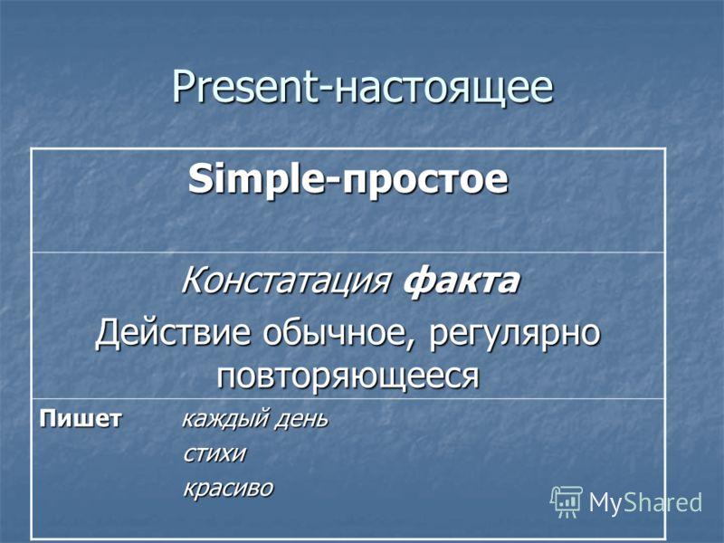 Present-настоящее Simple-простое Констатация факта Действие обычное, регулярно повторяющееся Пишет каждый день стихи стихи красиво красиво