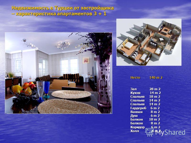 Недвижимость в Турции от застройщика – характеристика апартаментов 3 + 1 Нетто 140 m 2 Зал 28 m 2 Кухня 14 m 2 Спальня 18 m 2 Спальня 14 m 2 Спальня 14 m 2 Гардероб 6 m 2 Ванная 8 m 2 Душ 6 m 2 Балкон 10 m 2 Балкон 8 m 2 Коридор 6 m 2 Холл 8 m 2