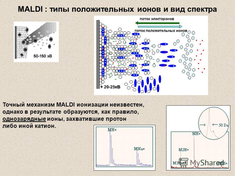 Точный механизм MALDI ионизации неизвестен, однако в результате образуются, как правило, однозарядные ионы, захватившие протон либо иной катион. MALDI : типы положительных ионов и вид спектра