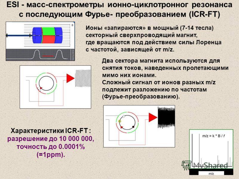Ионы «запираются» в мощный (7-14 тесла) секторный сверхпроводящий магнит, где вращаются под действием силы Лоренца с частотой, зависящей от m/z. Два сектора магнита используются для снятия токов, наведенных пролетающими мимо них ионами. Сложный сигна