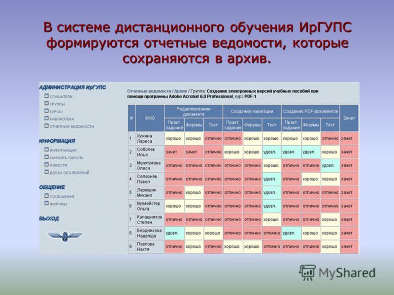 В системе дистанционного обучения ИрГУПС формируются отчетные ведомости, которые сохраняются в архив.