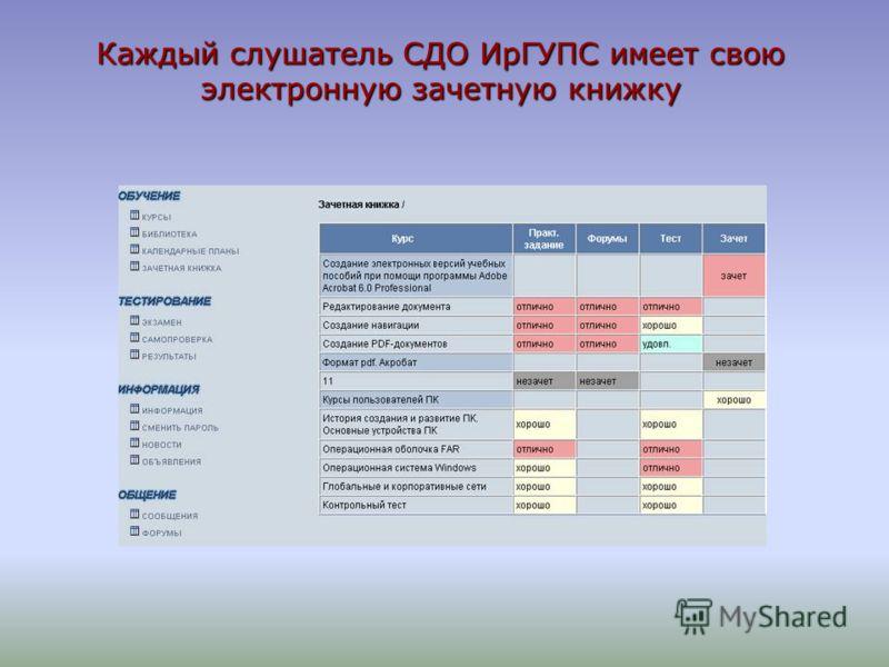 Каждый слушатель СДО ИрГУПС имеет свою электронную зачетную книжку
