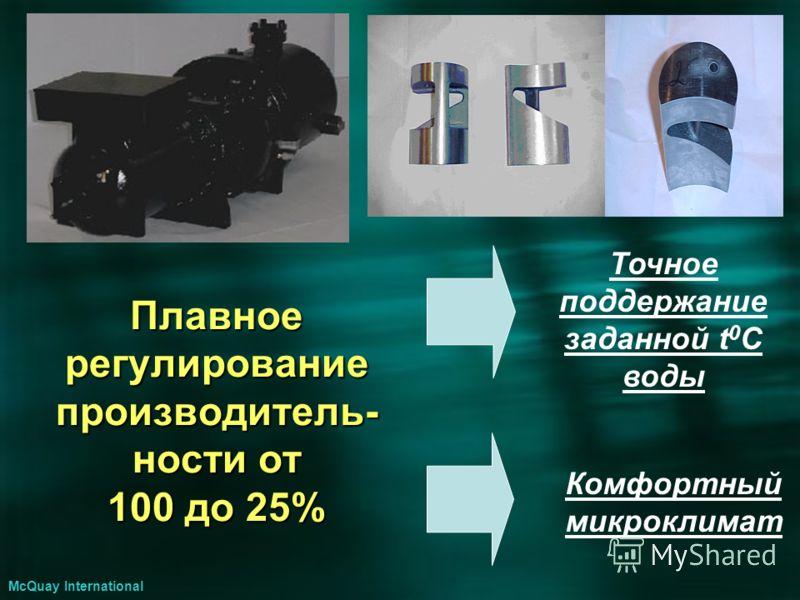 Комфортный микроклимат Точное поддержание заданной t 0 C воды McQuay International Плавное регулирование производитель- ности от 100 до 25%