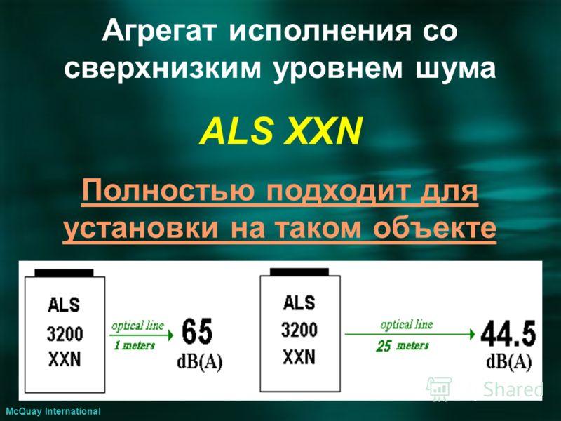Агрегат исполнения со сверхнизким уровнем шума ALS XXN McQuay International Полностью подходит для установки на таком объекте