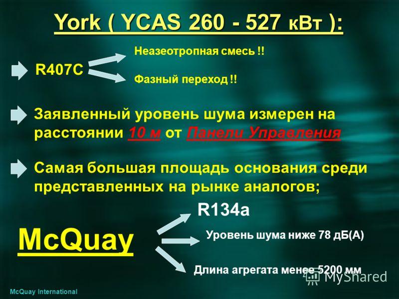 York ( YCAS 260 - 527 кВт ): R407C Заявленный уровень шума измерен на расстоянии 10 м от Панели Управления Самая большая площадь основания среди представленных на рынке аналогов; Неазеотропная смесь !! Фазный переход !! McQuay R134a Длина агрегата ме