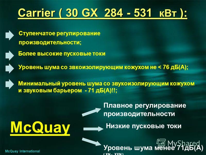 Carrier ( 30 GX 284 - 531 кВт ): Ступенчатое регулирование производительности; Более высокие пусковые токи Минимальный уровень шума со звукоизолирующим кожухом и звуковым барьером - 71 дБ(A)!!; McQuay International Плавное регулирование производитель