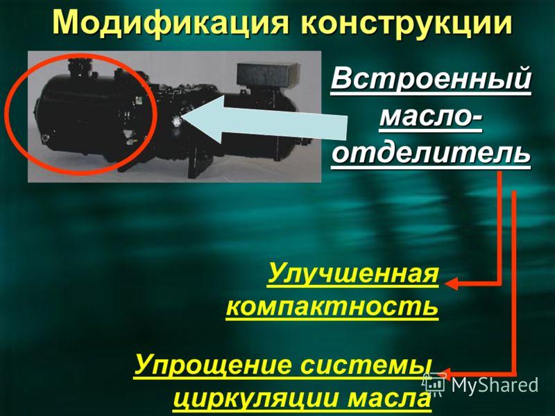 Встроенный масло- отделитель Улучшенная компактность Упрощение системы циркуляции масла Модификация конструкции