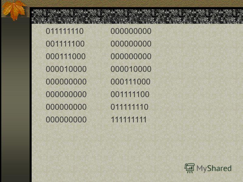 ж) 111111111 011111110 001111100 000111000 000010000 000000000 з) 000000000 000000000 000010000 000111000 001111100 011111110 111111111